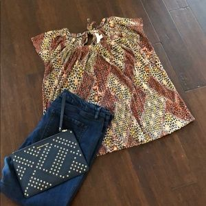 Lauren Conrad Accordion Fabric Shell - Size Large
